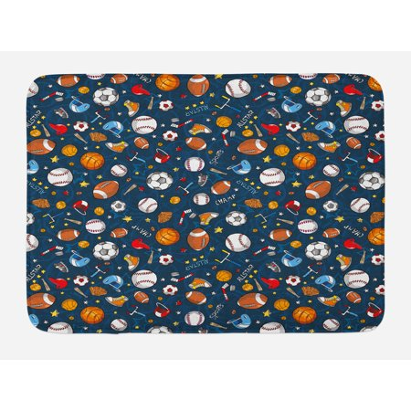 - Sport Bath Mat, Many Basketball Baseball and Football Icons Champ Gloves Dark Background, Non-Slip Plush Mat Bathroom Kitchen Laundry Room Decor, 29.5 X 17.5 Inches, Dark Blue Multicolor, Ambesonne