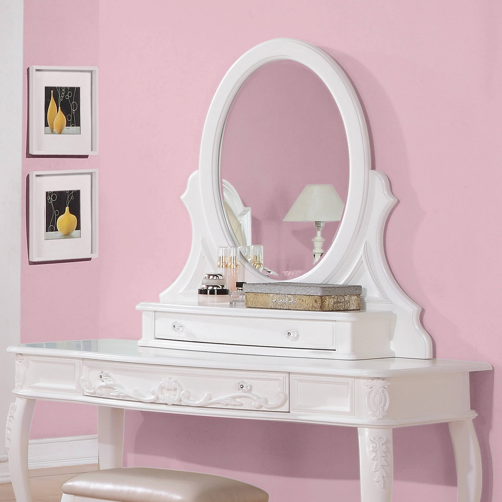 Coaster Company Caroline Collection Vanity Mirror, White Painted by Coaster Company