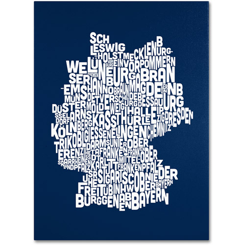 Trademark Art 'NAVY-Germany Regions Map' Canvas Art by Michael Tompsett