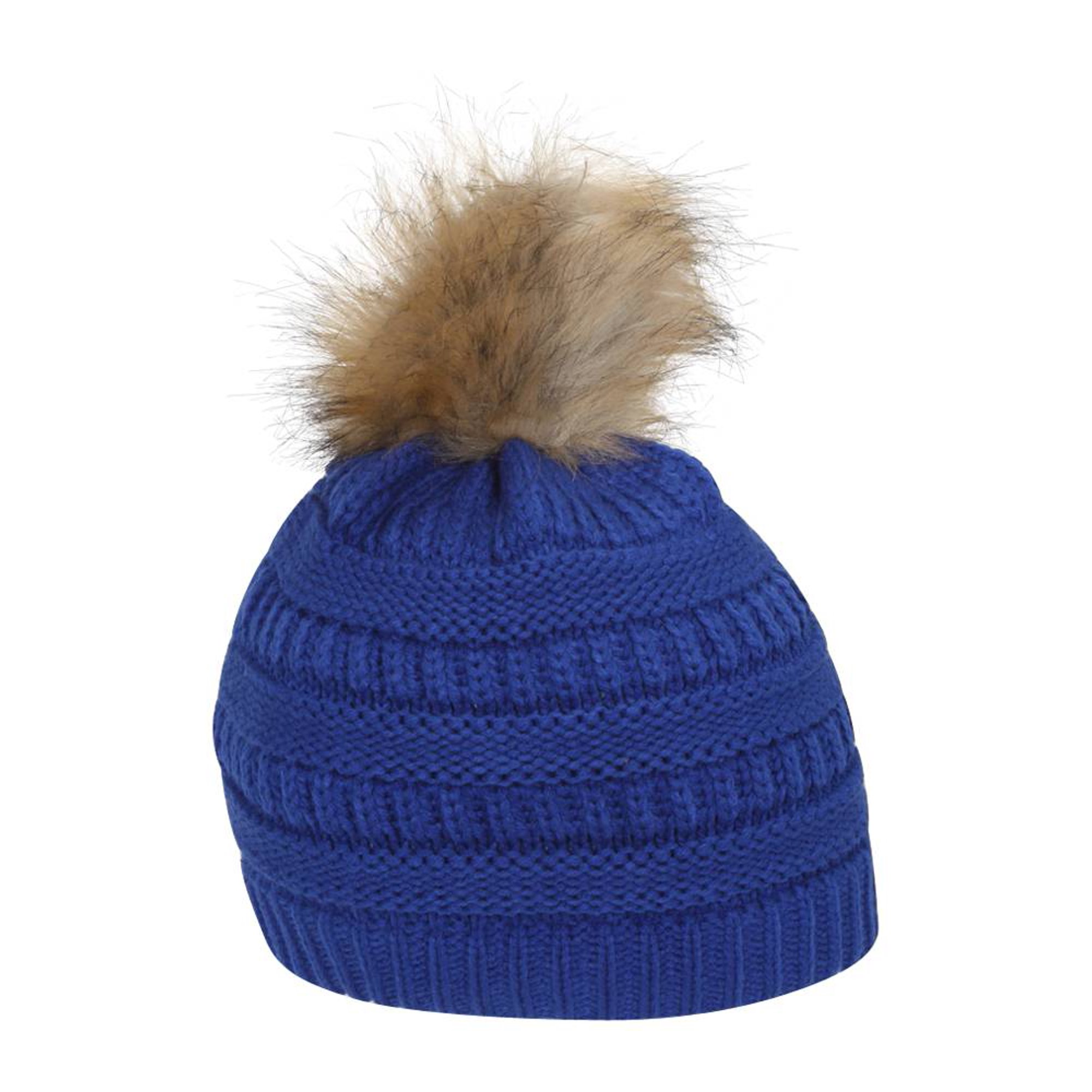 69dc4351ac4 Gravity Threads Cable Knit Faux Fur Pom Pom Beanie Hat