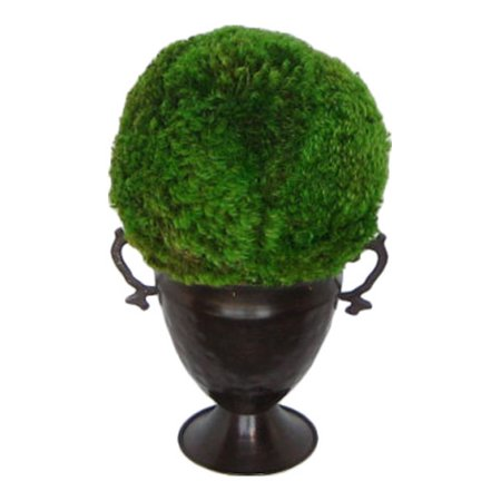 Bougainvillea Metal Trophy Small Vase with Moss Topiary Ball (Small Trophies)