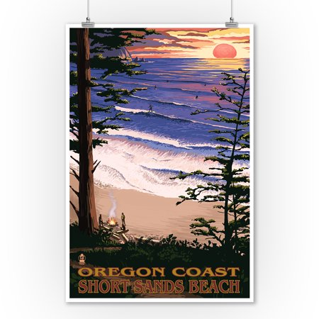 Short Sands Beach, Oregon - Coast Scene - Lantern Press Artwork (9x12 Art Print, Wall Decor Travel Poster) - Beach Lanterns