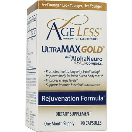 Ageless Foundation ULTRA Max Gold for Energy & Lean Body Mass Dietary Supplement, Capsules, 90 Ct