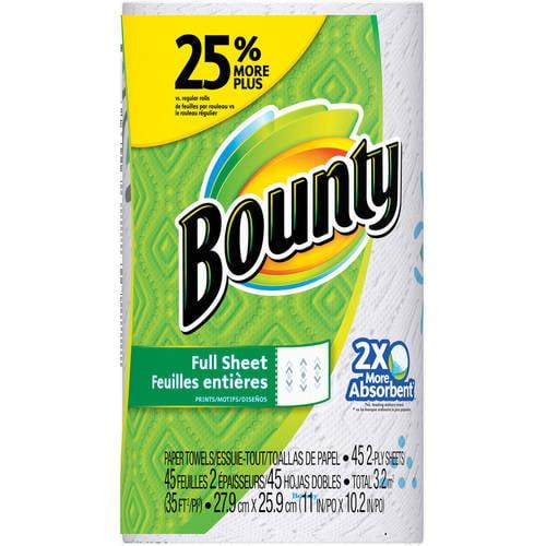 Bounty Paper Towels Single Roll, 54 sheets