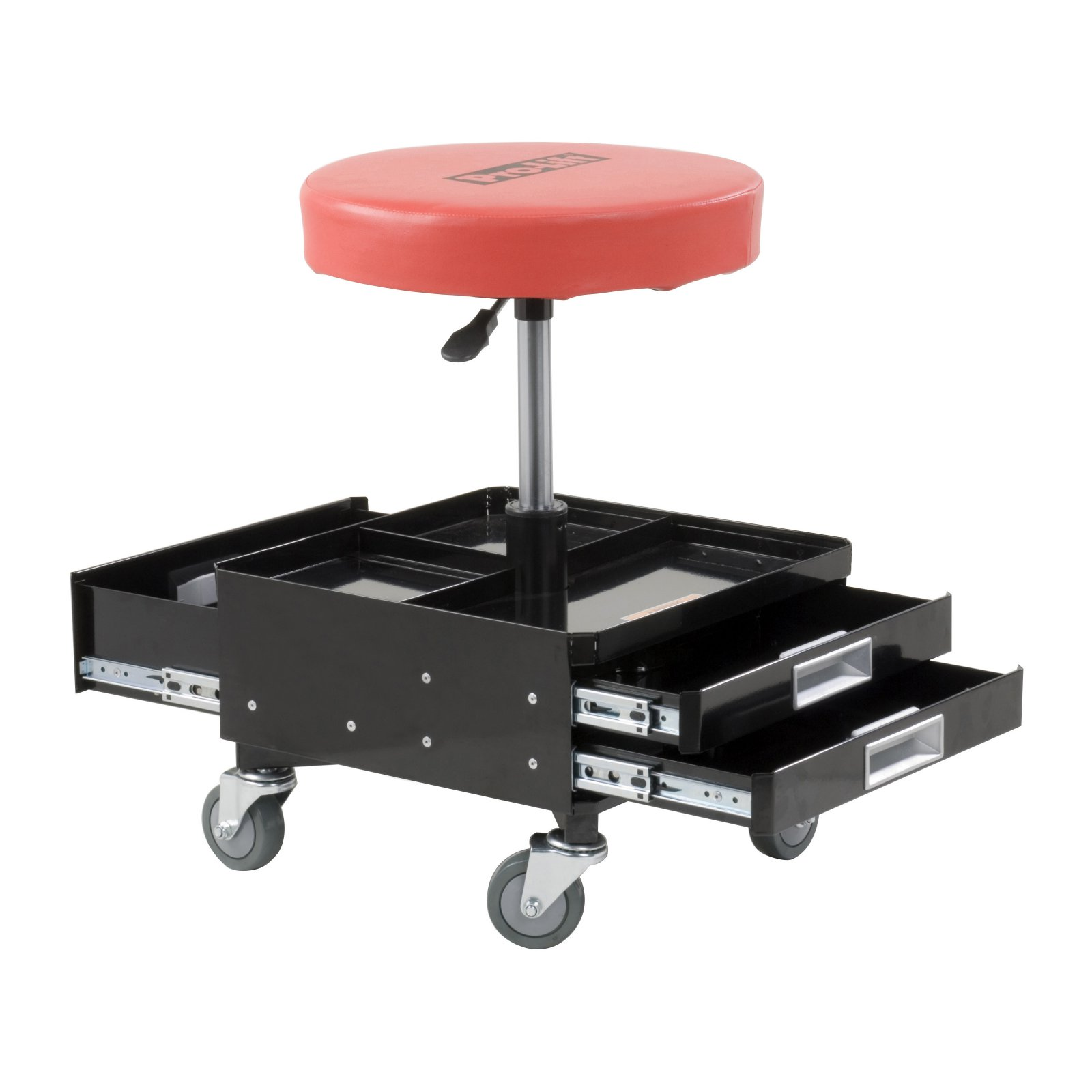 Pro-Lift C-3100 Grey Pneumatic Chair with Dual Tool Tray, 300 lb. Capacity