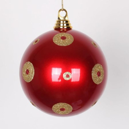 candy apple red with gold glitter polka dots commercial size christmas ball ornament 6 - Christmas Apple Commercial