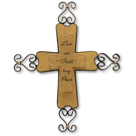 """Pavilion- """"Love and Faith bring Peace"""" Scroll Cross Wall Hanging Decor 9"""""""