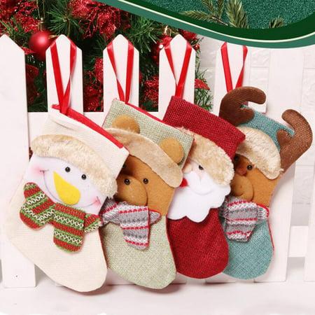 4pcs Christmas Mini Christmas Stockings Socks Decorations Socks Stocking Bag ()