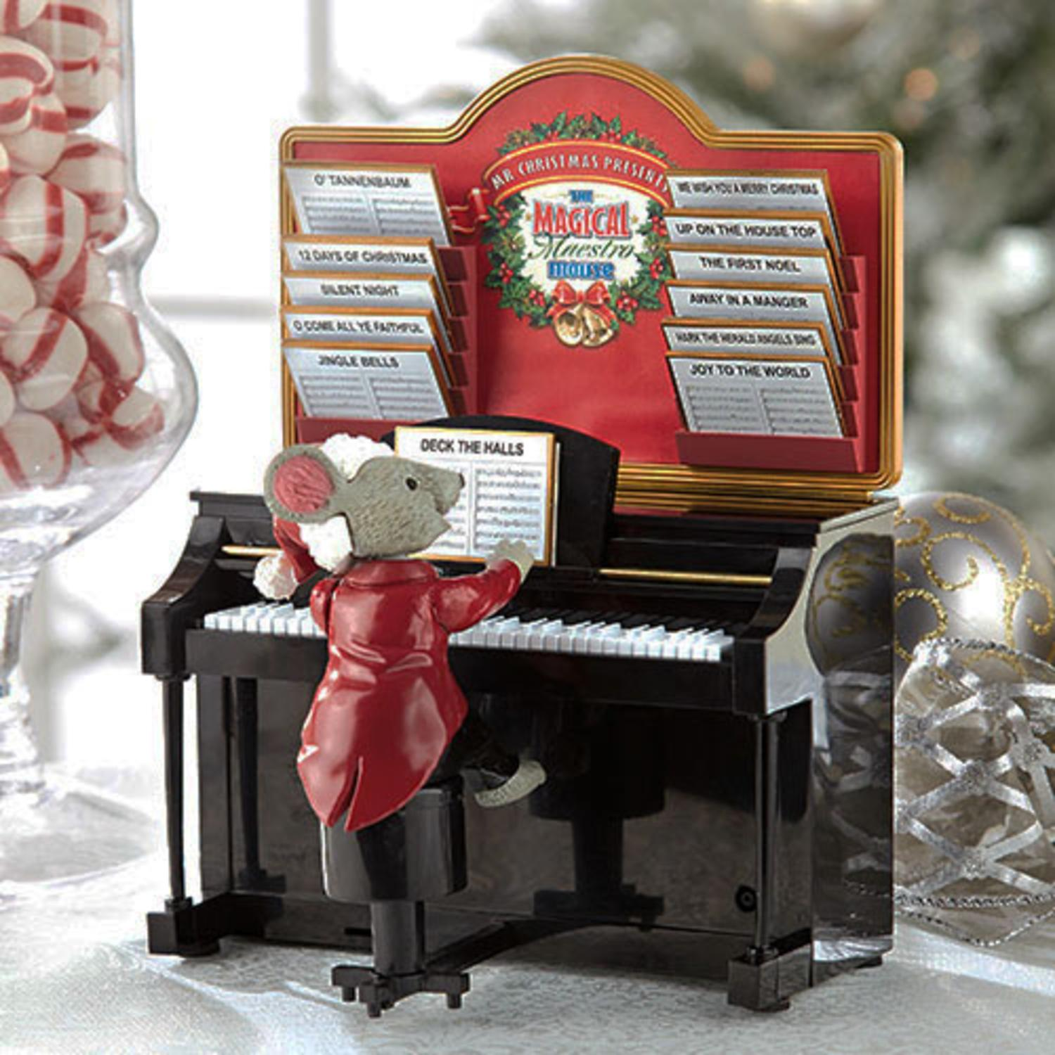 """7.75"""" Mr. Christmas Magical Maestro Mouse with Piano Musi..."""