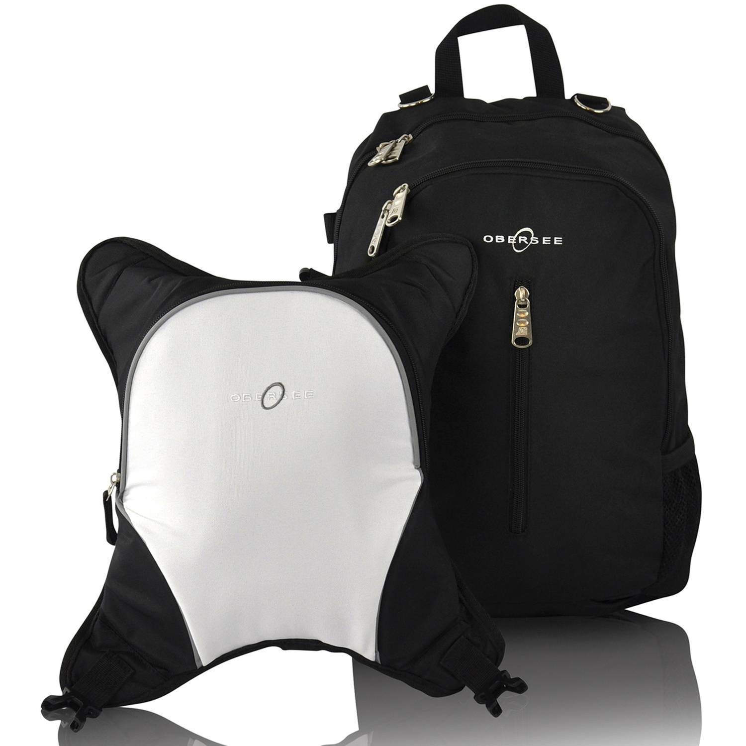 Obersee Rio Diaper Bag Backpack with Detachable Cooler, Black/White