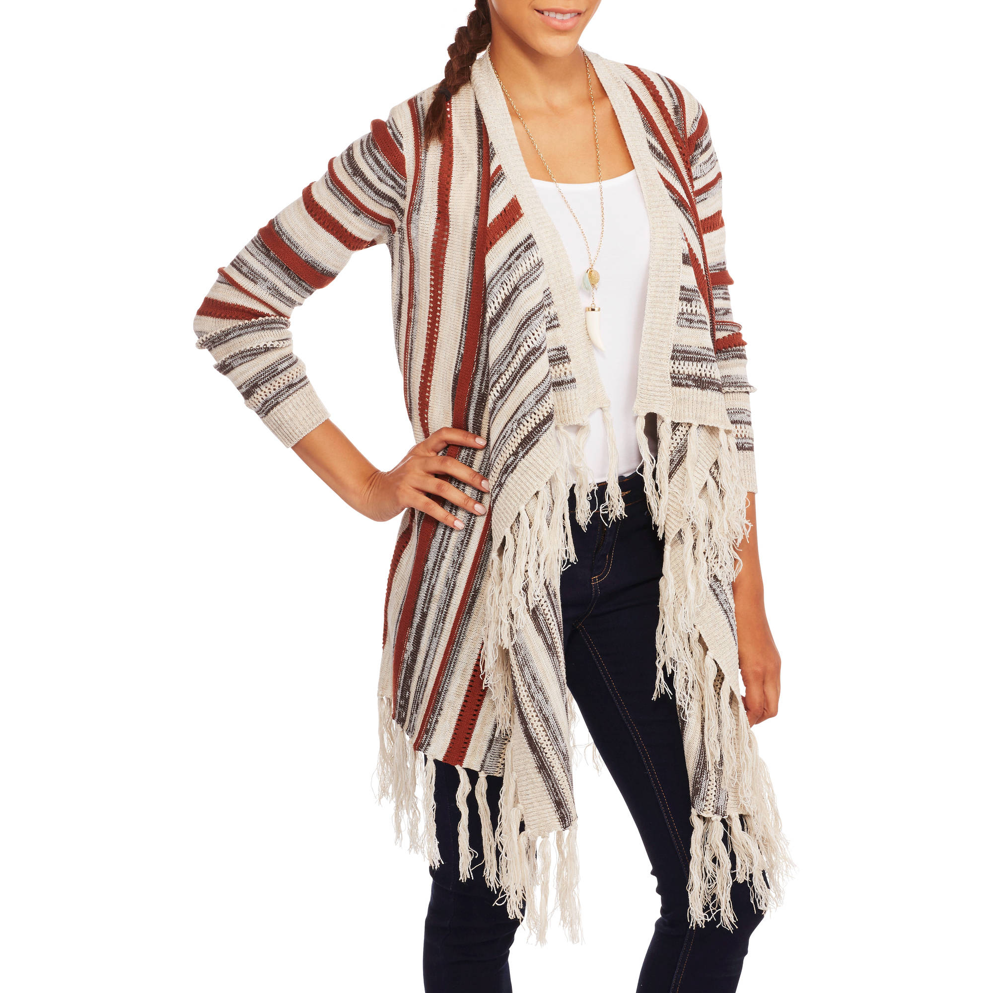 No Boundaries Juniors' Jacquard Fringe Cardigan
