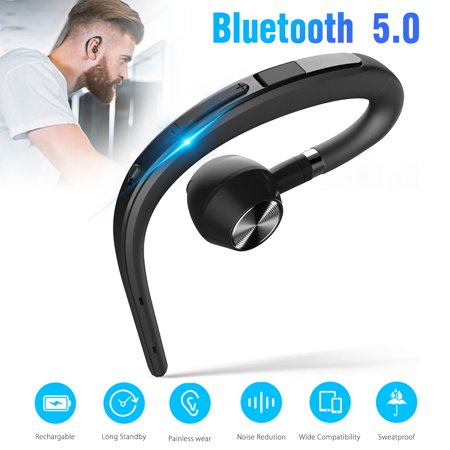 EEEKit Universal Wireless Headset Bluetooth V4.1 Noise Reduction Earpiece In Ear Sports Earphones Hands Free with Mic for Business Workout Driving, Black