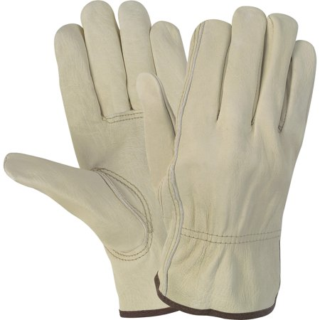 MCR Safety, MCSCRW3215L, Durable Cowhide Leather Work Gloves, 1 Pair, Cream,