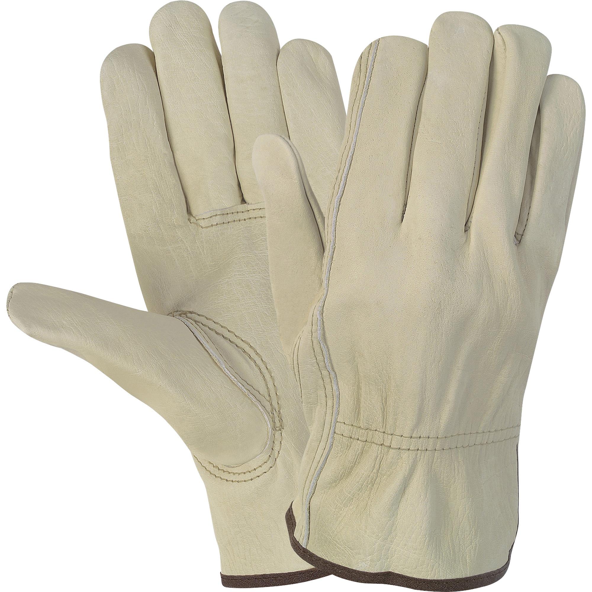 MCR Safety, MCSCRW3215L, Durable Cowhide Leather Work Gloves, 1 Pair, Cream, L