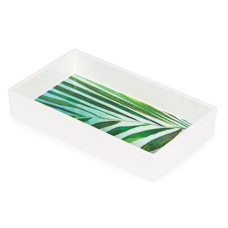 - Pack of 6 Bright White Melamine Napkin Tray with Palm Interior 8.5