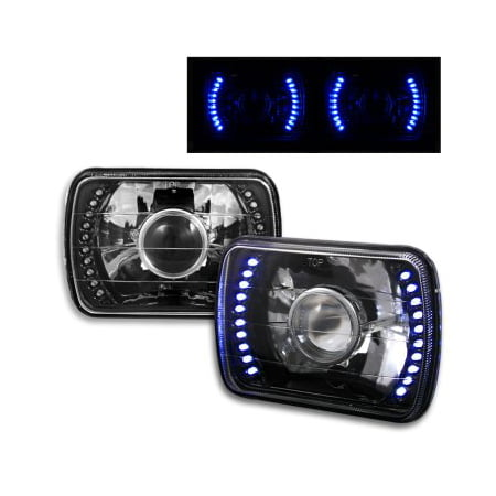 1983-1993,  Chevy S10 Blazer 7x6 H6052/H6054 Semi-Sealed Beam Black Diamond Blue LED Projector Headlights