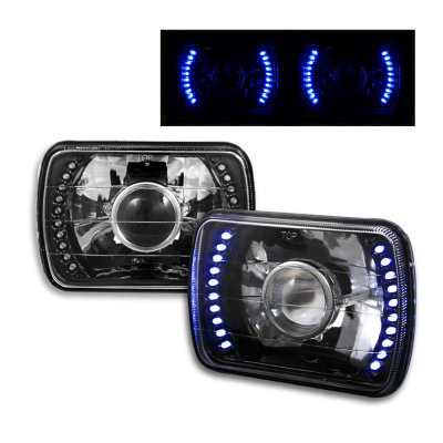 2003-2012 Ford E-250 E-350 Super Duty 7x6 H6052/H6054 Semi-Sealed Beam Black Diamond Blue LED Projector Headlights