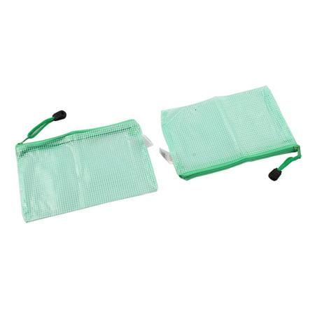 PVC Zippered Mesh Portable A6 Paper Document File Storage Bag Holder Pouch 2pcs