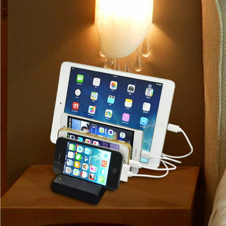 4-Port Multi USB Charging Stand Organizer Desktop Charger Dock Universal Cell Phone Docking Station for iPhones, for Samsung, iPad, Tablets Smartphones and Other USB-Charged Device ()
