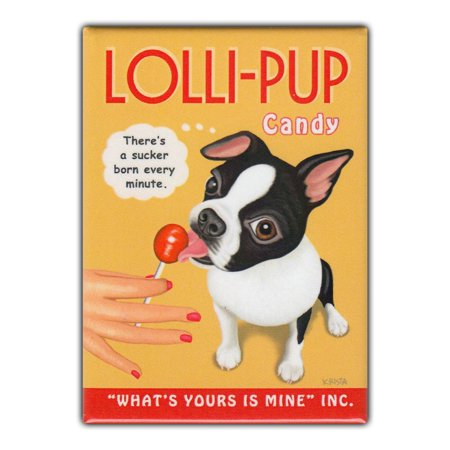 Retro Pets Refrigerator Magnet - Lolli-Pup Candy, Boston Terrier - Vintage Advertising Art - 2.5