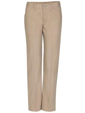 Real School Girls School Uniform Flat Front Low Rise Pants, Sizes 4-16 & Plus