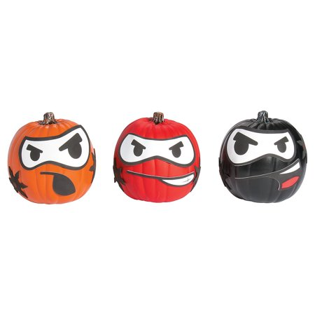 Fun Express - Ninja Pumpkin Decorating CK-12 for Halloween - Craft Kits - Home Decor Craft Kits - 3 - D Tabletop - Halloween - 12 Pieces - Craft Pumpkin