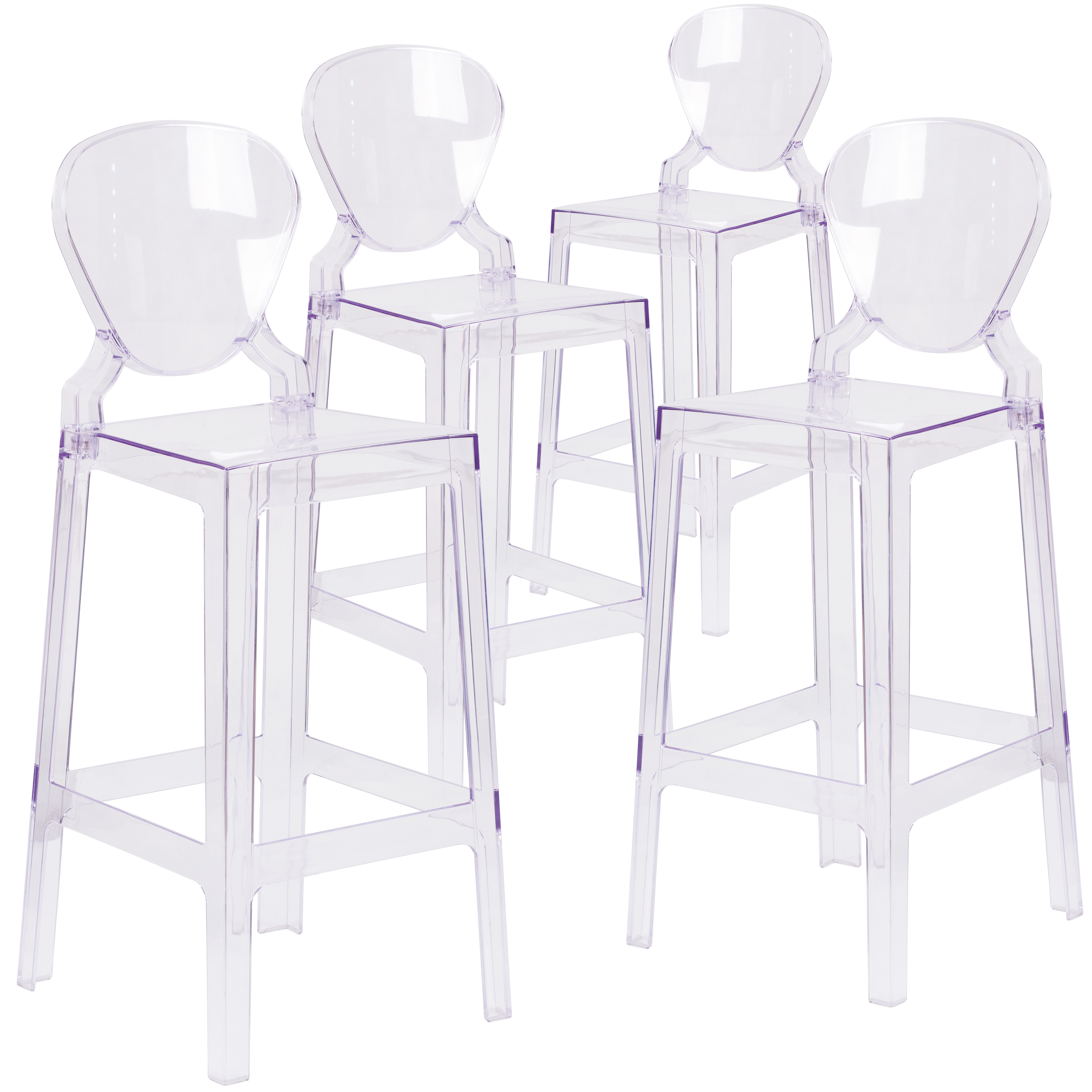 Flash Furniture 4 Pk. Ghost Barstool in Transparent Crystal with Tear Back