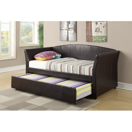 Faux Leather Day Bed With Trundle In Dark Brown