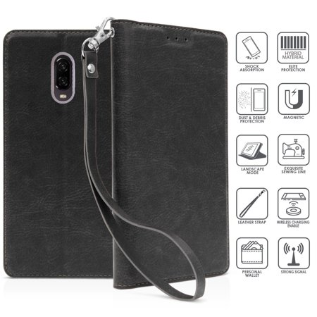 best sneakers fca3f 16bd3 For OnePlus 6T Case Phone Case Hybrid Wallet Kick stand Card Pocket Holder  Slot Pouch Screen Flip Cover Case (Black)