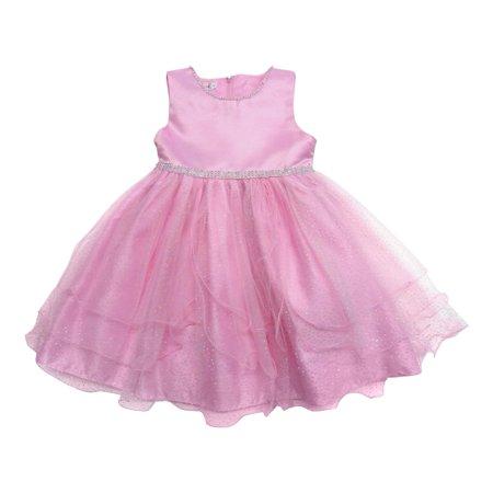 Little Girls Pink Shimmery Dot Overlaid Satin Elegant Flower Girl Dress](Shimmery Dress)