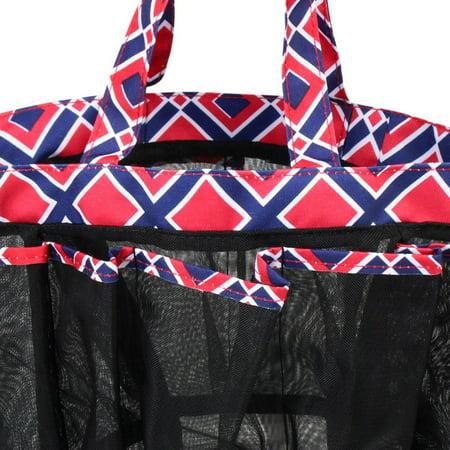 Zodaca Lightweight Mesh Shower Caddie Bag Quick Dry 7 Pocket Toiletry Bath Organizer Carry Tote Bag for Gym Camping Crafting - Blue Quatrefoil - image 2 de 4
