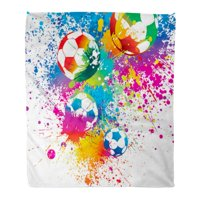 SIDONKU Flannel Throw Blanket Sport Soccer The Colorful Footballs on White Ball Stadium Soft for Bed Sofa and Couch 50x60 Inches