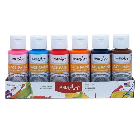 Handy Art® Washable Face Paint Kit, Secondary colors, 2 oz. bottles, Set of 6 - Halloween Facepaint