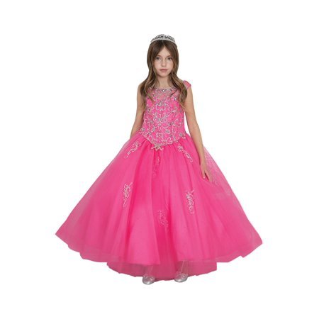 Little Girls Hot Pink Jeweled Bodice Glitter Tulle Pageant Dress