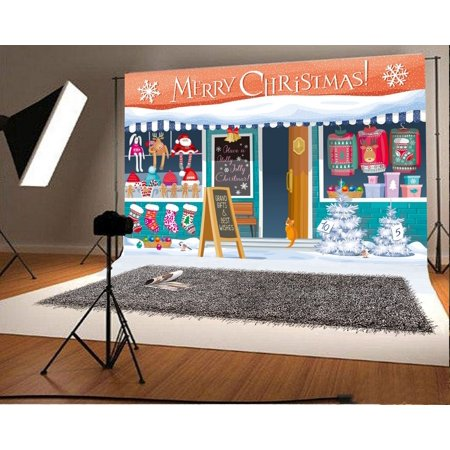 GreenDecor Polyster 7x5ft Merry Christmas Backdrop Xmas Shop Pine Trees Lantern Reindeer Santa Claus Stocking Heavy Snow Winter Photography Background Kids Children Adults Photo Studio - Winter Photo Props
