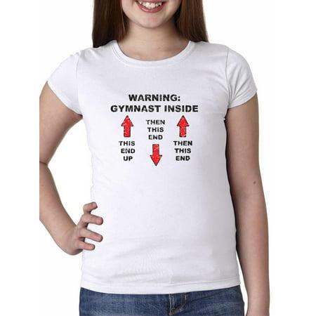 Hilarious Gymnast Inside Warning Gymnastics Graphic Girl's Cotton Youth T-Shirt - Gymnastics Youth T-shirt