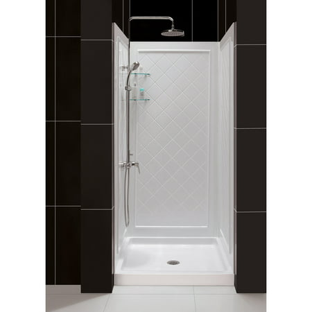 DreamLine 32 in. D x 32 in. W x 76 3/4 in. H Center Drain Acrylic Shower Base and QWALL-5 Backwall Kit In White - Cheap Shower Kits