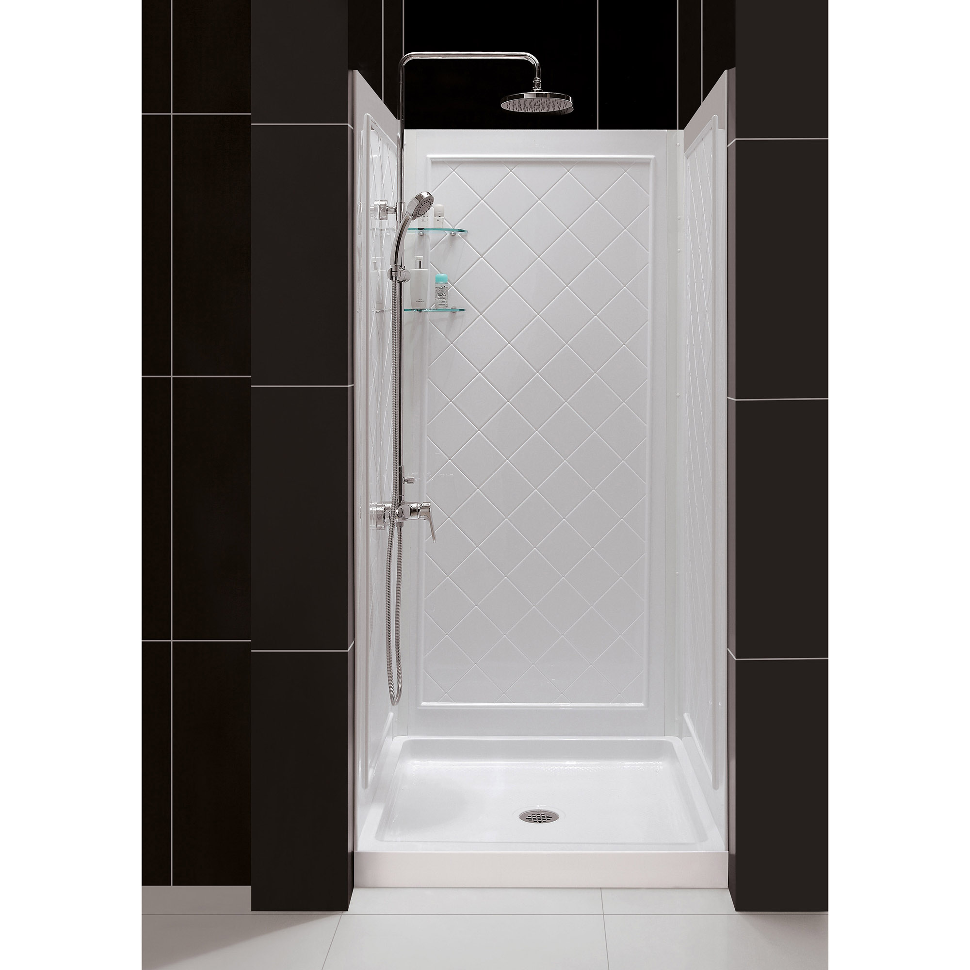 DreamLine 32 in. D x 32 in. W x 76 3/4 in. H Center Drain Acrylic Shower Base and QWALL-5 Backwall Kit In White