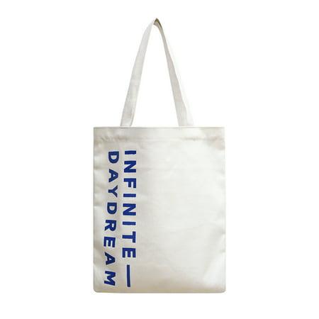 60866302f7db Chic Cotton Canvas Tote Bag Purse Shoulder Bags Bookbag Letters Travel Bag  Casual Handbags (White)