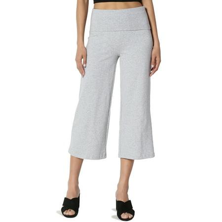 07226bce15 TheMogan Women's PLUS Foldover Waistband Thick Stretch Cotton Crop Capri  Yoga Pants