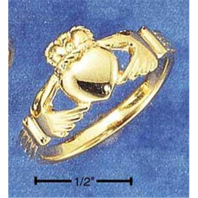 Sterling Silver 18Kt Gold Plated Claddagh Heart In Hands Ring - Size 10