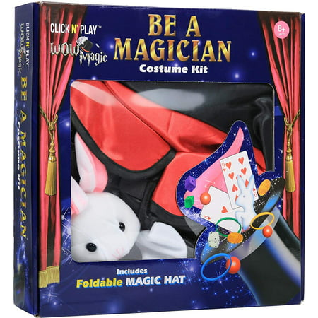 Click N' Play Magician Pretend Play Dress Up Set With Accessories, Hat and Rabbit Magic Tricks - Magician Hat