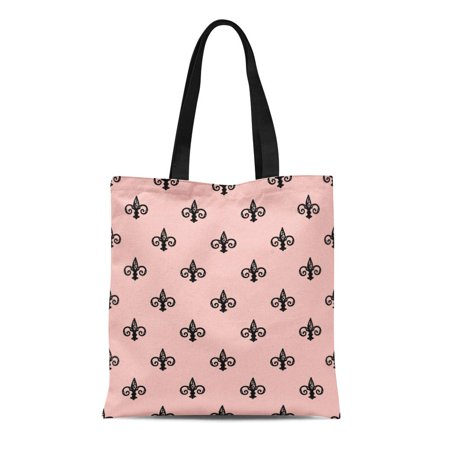 SIDONKU Canvas Tote Bag Pink Abstract Fleur De Lis Antique Beautiful Black Classic Reusable Shoulder Grocery Shopping Bags Handbag