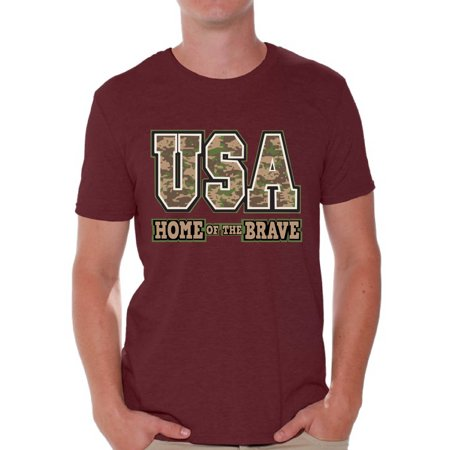 Awkward Styles Men's USA Home of the Brave Graphic T-shirt Tops Patriotic