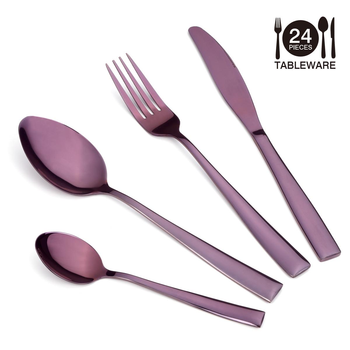 Silverware Set, Lekoton 24 pcs  Purple Stainless Steel Flatware Set Service for 6, Dinner Knife Fork Spoon Utensil Set