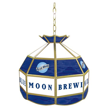 Blue Moon Stained Glass Billiard Lamp - 16 Inch