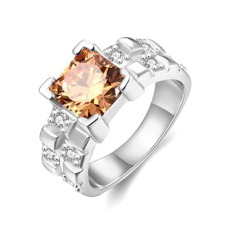 Accent Ring Jewelry (Aventura Jewellery Swarovski ElementsGold Plated Gemstone with Crystal Accents Rings)