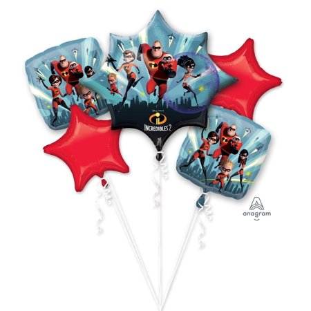 Disney Incredibles 2 Happy Birthday Party Favor 5CT Foil Balloon Bouquet