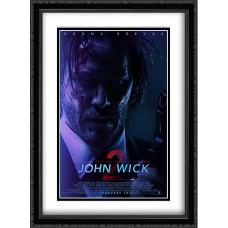 John Wick  Chapter 2 28X38 Double Matted Large Large Black Ornate Framed Movie Poster Art Print