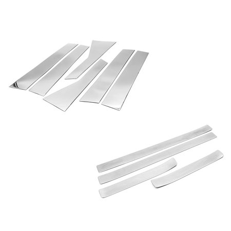 Sizver Polished Stainless Steel Pillar Posts Accent Covers+Door Sills For 2012-2016 Honda CR-V 6PCS